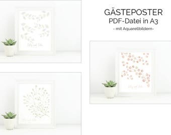 Guest posters in A3-coloured watercolor Pictures Guest Posters