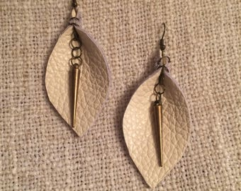 White Leather Calla Lilly Earrings