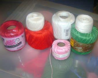 6 full skeins of crochet, tatting thread, yarn