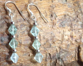 Sterling Silver and Pale Green Fluorite Earrings