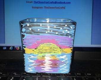 Setting Sun Over the Ocean Candle Holder