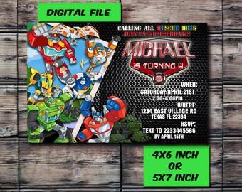 Rescue Bots Invitation,Rescue Bots Birthday,Rescue Bots Birthday Invitation,Rescue Bots Party,Rescue Bots Printable,Digital Prints