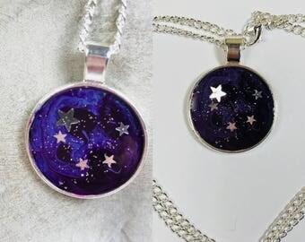 Purple midnight stars pendant