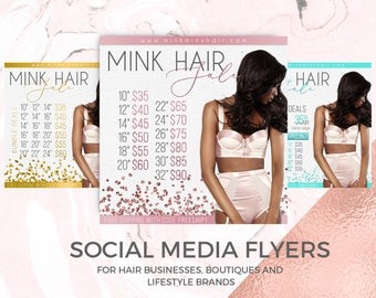 Hair Bundle Deals Digital Flyer, Hair Business Instagram, Hair Extensions Marketing, Hair Branding, Social Media Flyer, Digital Flyer Design