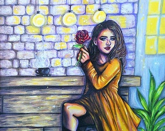 Original Cafe Love Painting