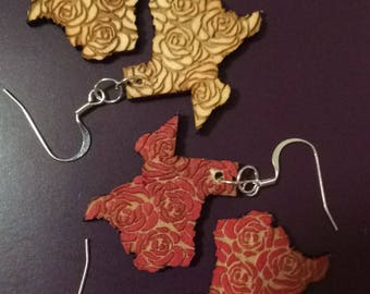Texas Rose Laser Engraved Earrings