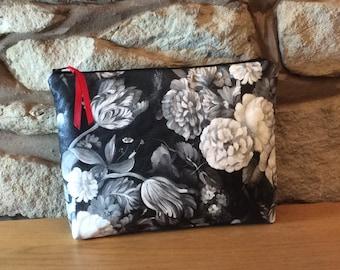 Monochrome Flower Luxury Glamorous Wash Bag