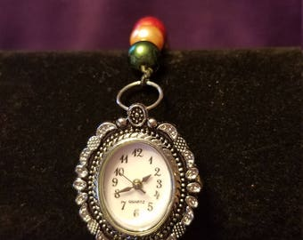 Multicolored Beaded Watch with Matching Earrings