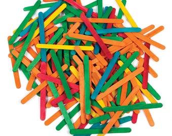 100 Wooden Coloured Lollipop Sticks For Crafts