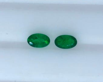 0.44Cts Natural Colombian Emerald AAA Grade 5X3MM Oval Cut Matching Pair Earring Set