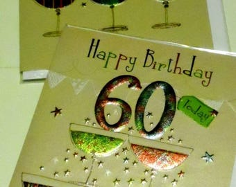 12 cards 60th BIRTHDAY CARDS x12, JUST 35p - We also have birthday cards / christmas cards / thank you cards