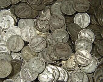 one random silver mercury dime 1916-1945