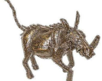 Small Warthog Sculpture made from 100% recycled metal