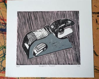 "Original limited edition linocut print ""Richard's Plane"""