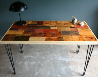 Reclaimed and Pallet wood desk/table with Epoxy finish