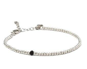 Beaded Bracelet, Tourmaline Bracelet, Sterling Silver