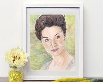 Caitriona Balfe as Claire Fraser from Outlander original portrait in colored pencils