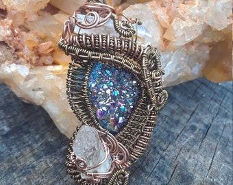 Peacock stone and quartz in copper