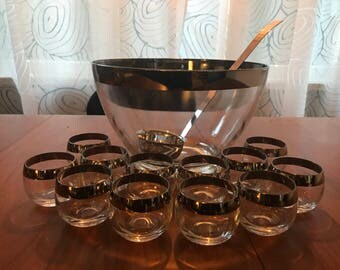 Vintage Dorothy Thorpe Silver Rim Punch Bowl and 12 Roly Poly Glasses