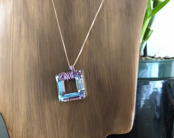 Crystal Necklace with silver Chain
