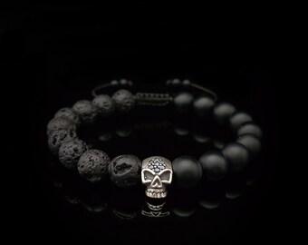 Onyx, Lava Bracelet Sterling Silver Skull