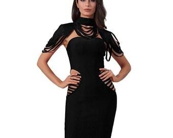 Hollow Out Sleeveless Mini Bodycon Bandage Dress Black