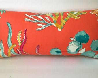 Coral Orange Cream Decor Throw Pillow with Insert