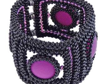 Glass bead bracelet Black, Polaris Cabochons