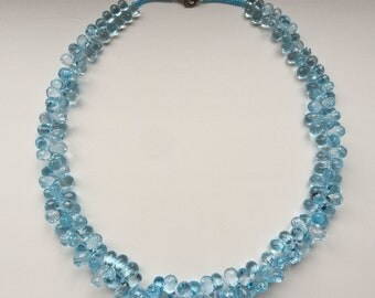 Blue natural topaz bead