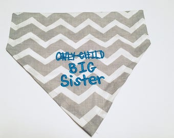 Big Sister, Gender Reveal, Only Child, Dog Bandana, Over the Collar, New Baby, Reveal Announcement, Dog Lover Gift, Shower Gift, Big Brother