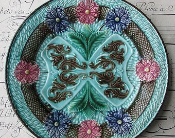Vintage Majolica Plate Italy Turquoise Aqua Basketweave Floral