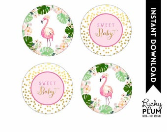 Flamingo Cupcake Toppers / Tropical Floral Cupcake Toppers / Flamingo Floral Round Labels / Luau Aloha Pink Green Printable / FG01