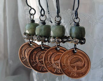 Irish Coin Earrings Assemblage Half Penny Bird Harp Ireland Coins Cobwebpalace 1971 and 1978 Birthday