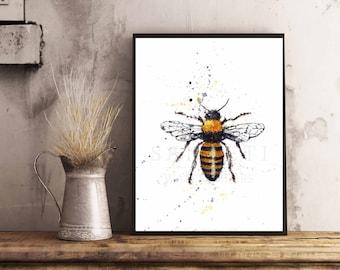 Honey Bee Watercolor,8x10, Art Print, Bees Print, Honey Bee Print, Art print, For The Beekeeper,