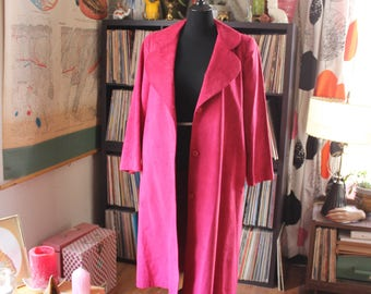 vintage 80s ultrasuede jacket . magenta pink jacket coat trench with pockets . womens xl 1x 14 16 belted trench