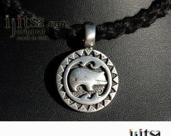 Soft Black Hemp Chain Choker/Necklace and pewter Bear pendant