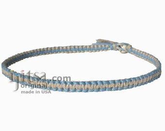 Sky Blue and Natural Flat Hemp Surfer Style Choker Necklace