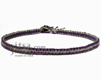Dark Purple and Natural Flat Hemp Surfer Style Choker Necklace