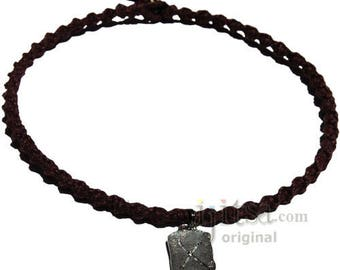 Dark brown twisted hemp choker necklace with Love pewter charm