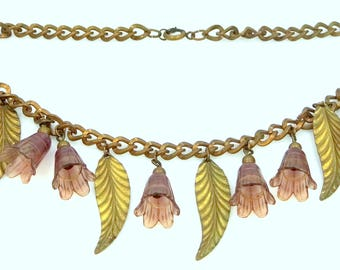 Victorian Lavender Celluloid Flowers Necklace