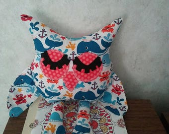 Owl in nautical friends of the sea multicolor cotton. Hypoallergenic stuffing, felt eyelids. Measures 16 long. Has webbed feet.
