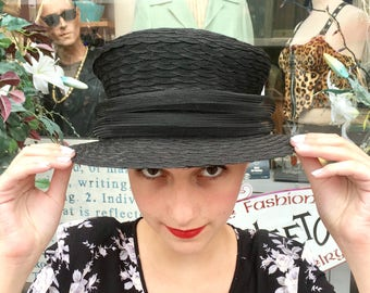 Vintage 1990's WIDE BRIM Top Hat, Black DOWNTON Abbey Style Hat
