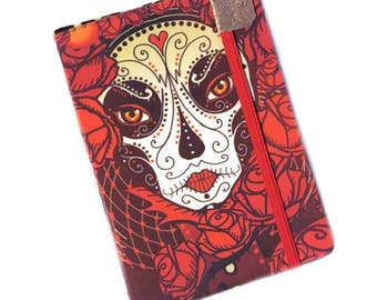Kindle Paperwhite Cover - Gothic Roses Calavera - case for kindle - fits Touch and Paper White - eReader folio, red roses sugar skull