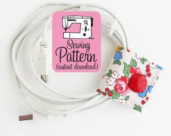 Cord Keepers PDF Sewing Pattern | Sewing project to make fabric cord organizers in three sizes for earbuds and other cords and cables.