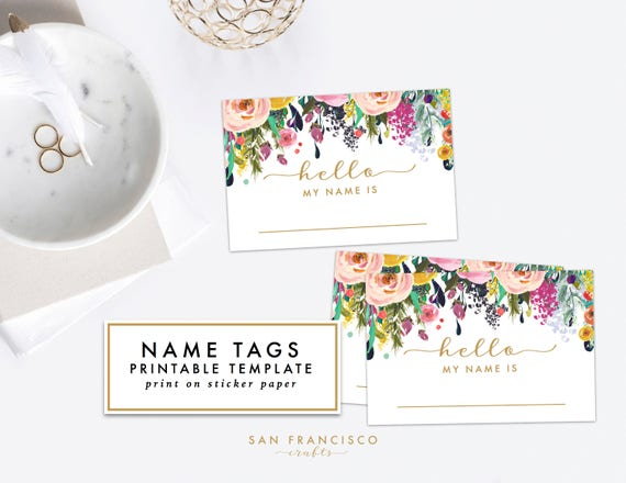 Printable Floral Name Tag   Bridal Shower, Baby Shower, Rehearsal Dinner, Name  Tag   Ashley Collection   INSTANT Download PDF File