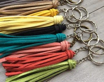 "Tassel Keychain - 3.5"" Small Tassel Vegan Leather - Choose Your Color - Mini Tassel Keyring, Keychain with Tassel, Colorful Keychain (ST118)"