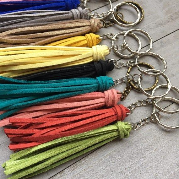 "Mini Tassel Keychain - 3.5"" Small Tassel Vegan Leather - Choose Your Color"
