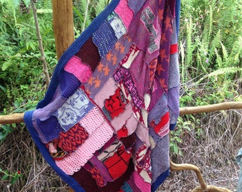 Patchwork knit blanket throw, cotton and mixed yarn rag blanket throw, boho teen snuggle blanket, cut and sew patch work throw multi color