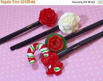 Christmas in July SALE. Christmas Hair Accessories, Bobby Pins in Red Green and White, Candy Cane, Red Rose, White Rose, Holiday Hair Pins,