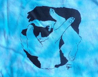 funky blue tie dye silly cat men's Large t-shirt